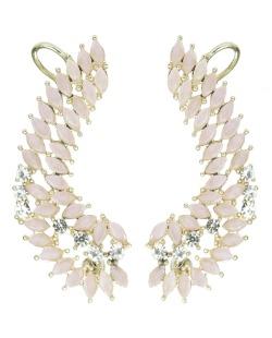 Ear Cuff de metal dourado com strass cristal e pedra rosa Eduarda