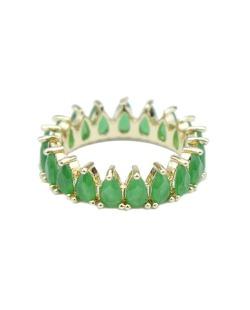 Anel de metal dourado com strass verde Davos