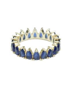 Anel de metal dourado com strass azul marinho Davos