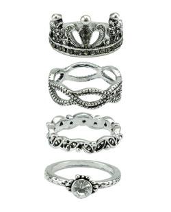 Kit com 4 anéis prateados e pedra cristal Luarah