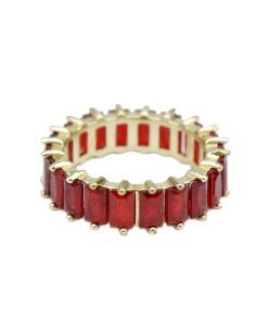 Anel de metal dourado com strass vermelho Sião