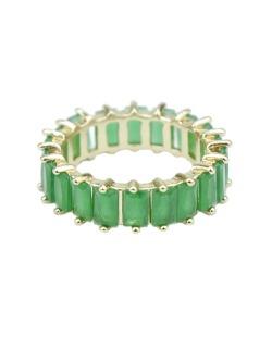 Anel de metal dourado com strass verde Sião