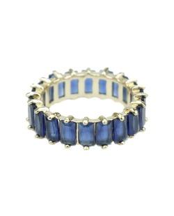 Anel de metal dourado com strass azul marinho Sião