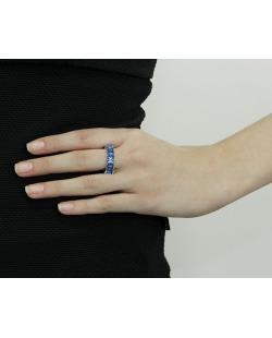Anel de metal dourado com strass azul Sião