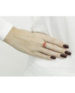 Anel de metal dourado com pedra vermelha Cartagena
