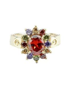Anel de metal dourado com pedras coloridas Besalú