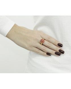Anel de metal dourado com pedra vermelha Besalú