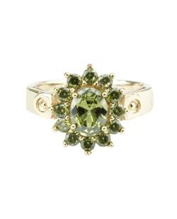 Anel de metal dourado com pedra verde Besalú