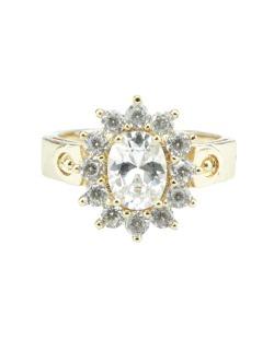 Anel de metal dourado com pedra cristal Besalú