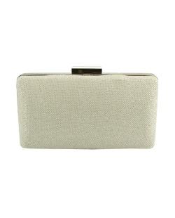 Bolsa de mão clutch de tecido palha bege Coiran