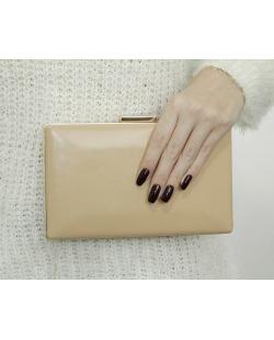 Bolsa de mão clutch de couro sintético salmão Vevey