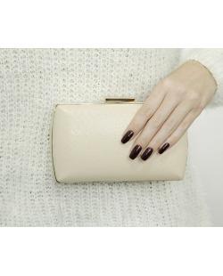 Bolsa de mão clutch de couro sintético bege Canazys