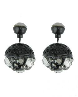 Brinco pequeno preto com strass cristal e grafite Pela