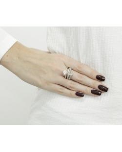 Kit com 2 anéis prateado e rosê com strass cristal Cádis