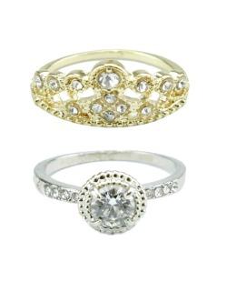Kit com 2 anéis dourado e prateado com strass cristal Cádis