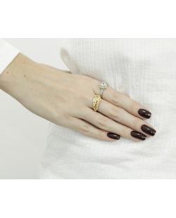 Kit com 2 anéis dourado e prateado com strass furta-cor Cádis