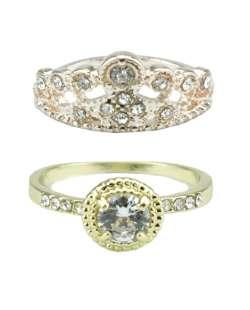 Kit com 2 anéis dourado e rosê com strass cristal Cádis