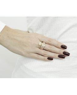 Kit com 2 anéis dourado e rosê com strass furta-cor Cádis