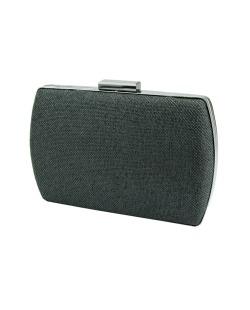Bolsa de mão clutch tecido palha preto Medley