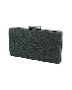 Bolsa de mão clutch tecido palha preto Deliver