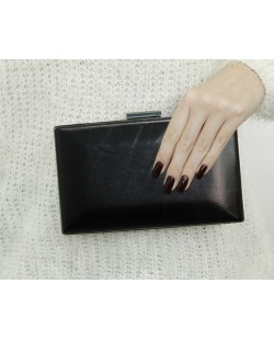 Bolsa de mão clutch de couro sintético preto Aqaba