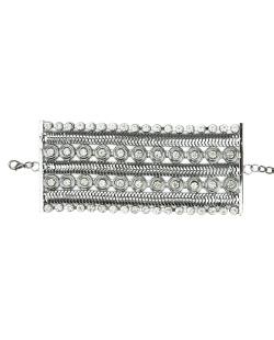Bracelete de metal grafite com strass cristal Monapo