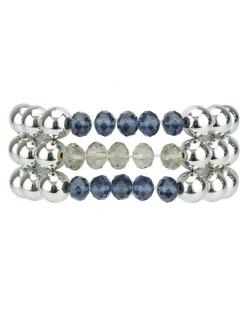 kit 3 pulseiras prateadas e azul Mossuril