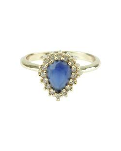 Anel de metal dourado com strass azul Mueda