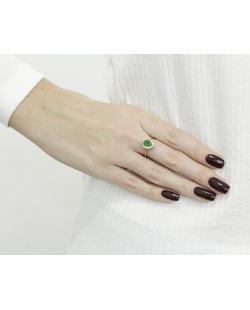 Anel de metal dourado com strass verde Mueda