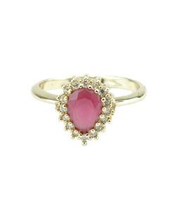 Anel de metal dourado com strass rosa Mueda