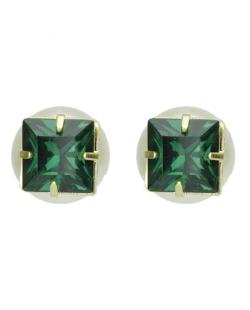 Brinco pequeno folhado dourado com pedra verde Bukoba