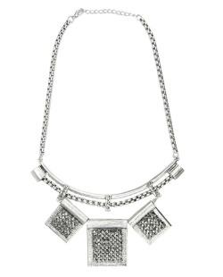 Maxi colar de metal prateado com strass grafite Moshi