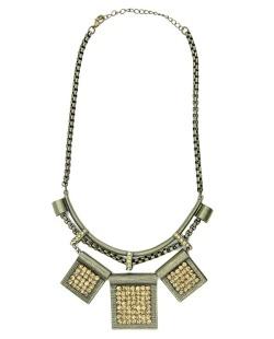 Maxi colar de metal ouro velho com strass licor Moshi