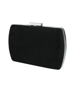 Bolsa de mão clutch de couro sintético preto Mewanza
