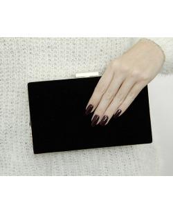 Bolsa de mão clutch de couro sintético preto Bagamoyo