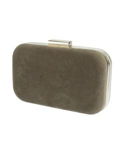 Bolsa de mão clutch de couro sintético marrom Lushoto