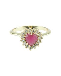Anel de metal dourado com strass rosa Mugumu