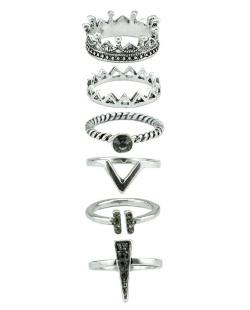 Kit 6 anéis prateados com pedra Jhowan