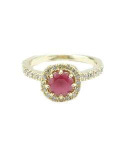 Anél dourado com pedra pink Howlor