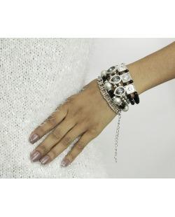 Kit 4 pulseiras de metal e acrílico prateado e preto Ganta