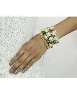 Kit 4 pulseiras de metal e acrílico dourado e verde Ganta
