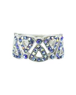 Anel de metal prateado com strass azul Harbel