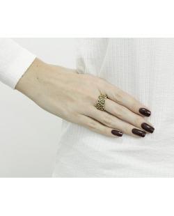 Anel de metal dourado com strass preto Harbel
