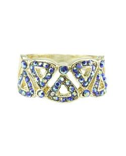 Anel de metal dourado com strass azul Harbel