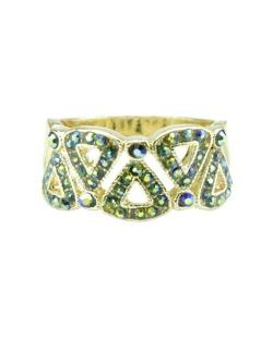 Anel de metal dourado com strass verde Harbel