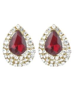Brinco pequeno dourado com strass cristal e vermelho Macenta