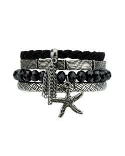 Kit 4 pulseiras de metal e acrílico preto e grafite Harper