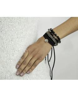 Kit 4 pulseiras de metal, acrílico e camurça preto e grafite Ganta