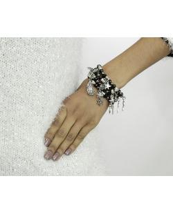 Kit 4 pulseiras de metal e acrílico preto e grafite Harbel