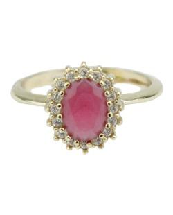 Anel de metal dourado com strass rosa Cess